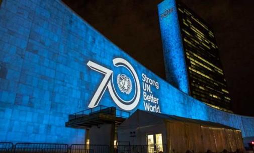 К всемирной кампании «Окрась мир в голубой цвет ООН», посвящённой 70-летию ООН, присоединилось 60 стран мира