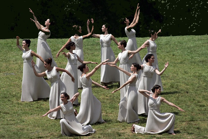 ATHENS, GREECE - MAY 10: Priestess perform during the London 2012 Olympic Torch during the Lighting Ceremony of the Olympic Flame at Ancient Olympia on May 10, 2012 in Olympia, Greece. (Photo by Milos Bicanski/Getty Images)