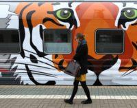 Поезд с изображениями тигров и леопардов отправился во Владивосток