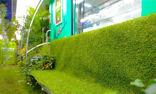 Зеленые растения украсили поезд метро в китайском городе Ханчжоу
