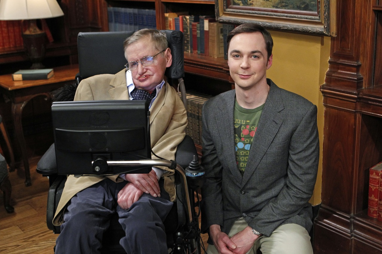 """The Hawking Excitation"" -- When Wolowitz gets to work with Stephen Hawking (left), Sheldon (Jim Parsons, right) is willing to do anything to meet his hero, on THE BIG BANG THEORY, Thursday, April 5 (8:00-8:31 PM, ET/PT) on the CBS Television Network.   Photo: Sonja Flemming/CBS �©2012 CBS Broadcasting Inc. All Rights Reserved."